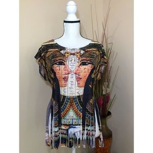 love J Egyptian Art Fringe Top